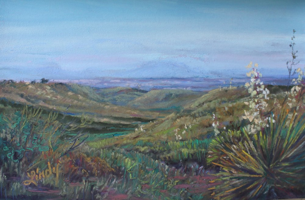 Chinati from the Marfa Highlands 4x6 pastel Lindy C Severns
