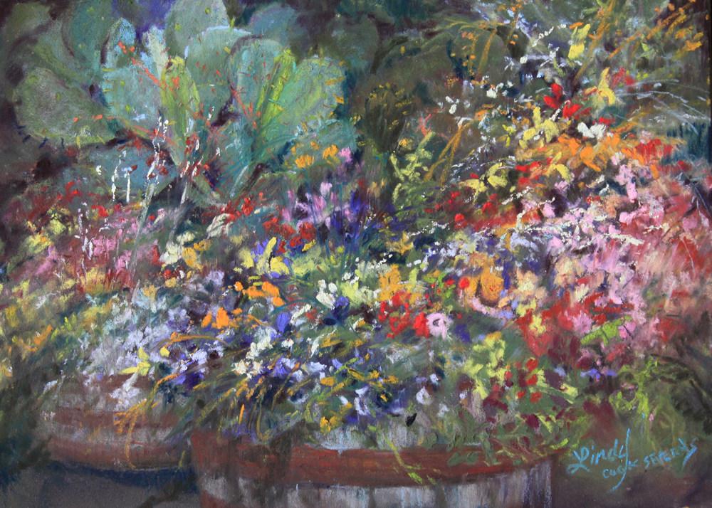Cactus Amid the Flowers 5x7 pastel Lindy C Severns 3b13 web