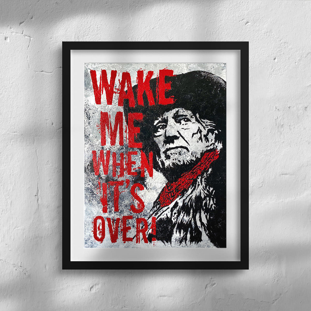 """Willie Nelson - """"Wake Me When It's Over"""" Framed Print Closeup"""