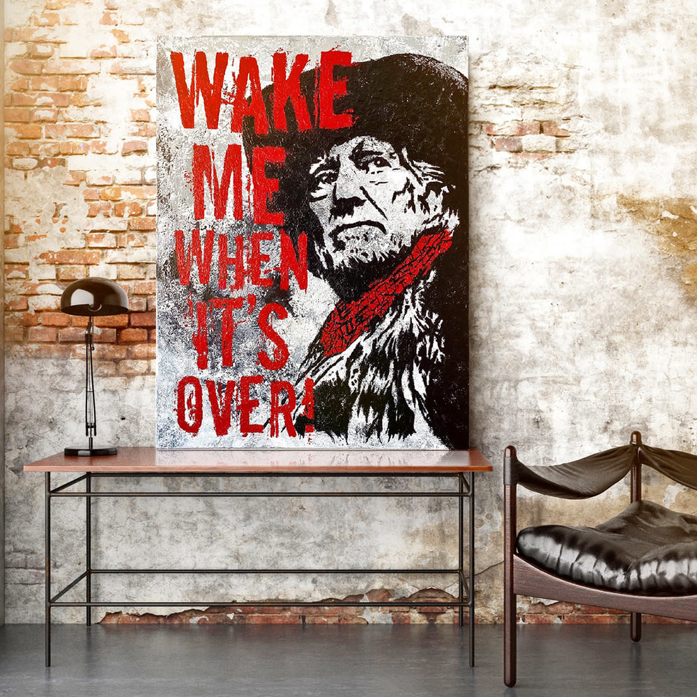 """Willie Nelson - """"Wake Me When It's Over"""" Original Acrylic Painting"""
