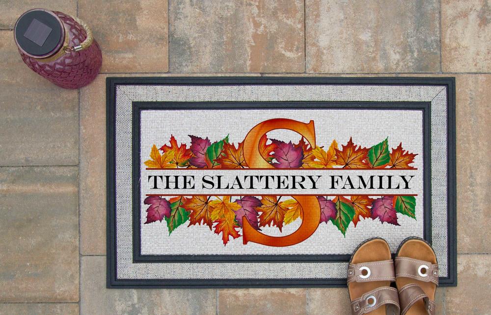 Autumn Leaves Custom Split Monogram Doormat