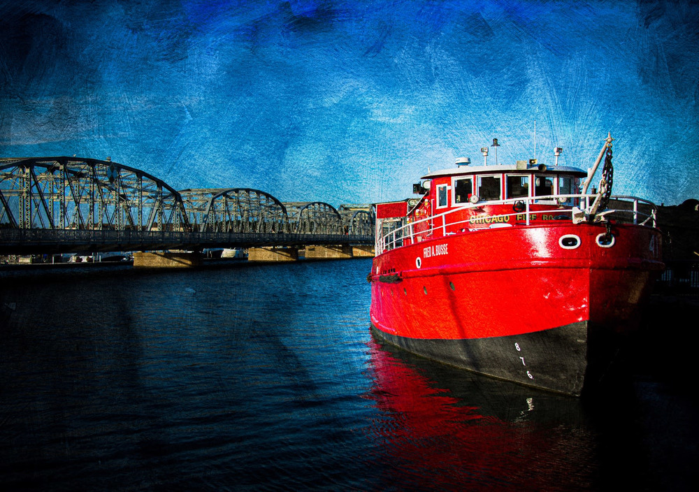 Fred A Busse Fire Boat Horizontal  Blank 5x7 Card
