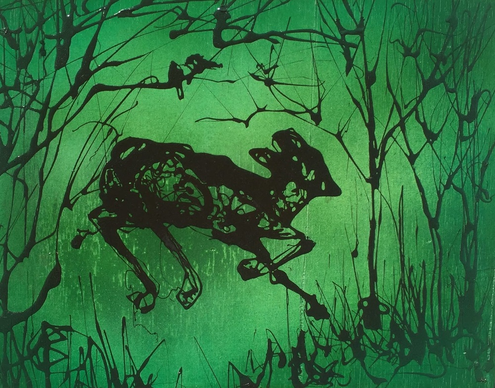 Leaping Fawn (green) 11x14  $235