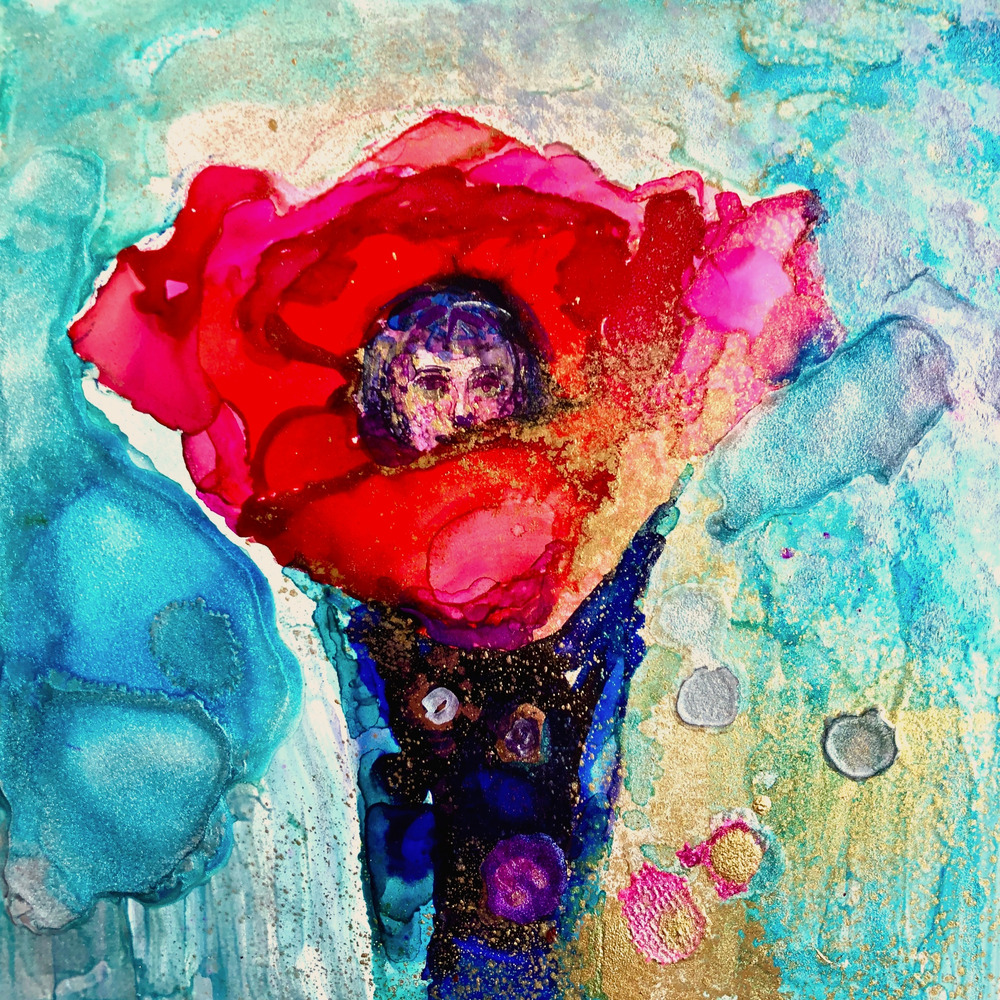 Revival Fire Glory Carrier Poppy Dancer, alcohol ink on panel, 6x6