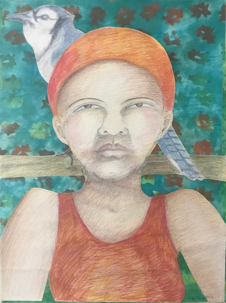 Woman With Ble Jay 18x24 350