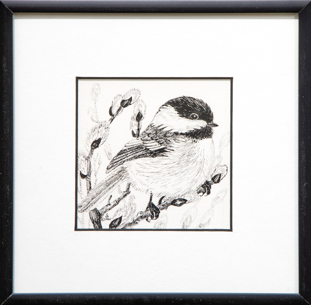 Black capped Chickadee PC Framed