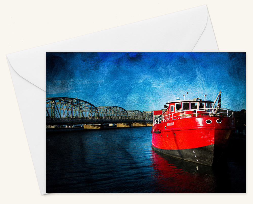 Fred A Busse Fire Boat Card w Envelope