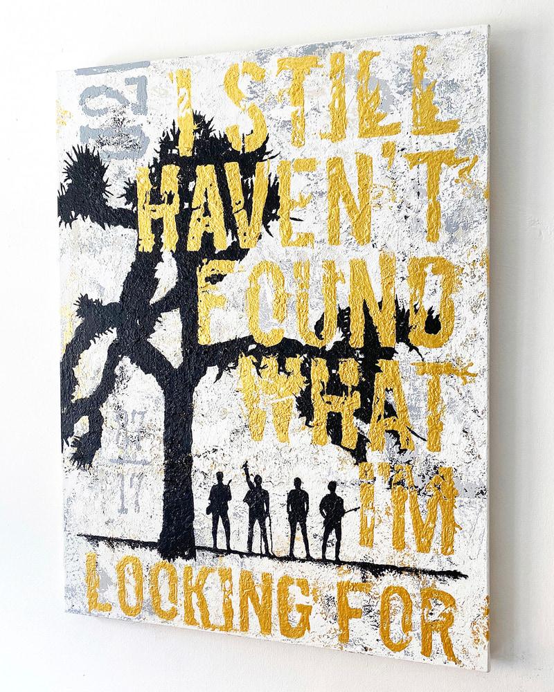 U2 JOSHUA TREE Original Acrylic Painting - Angled