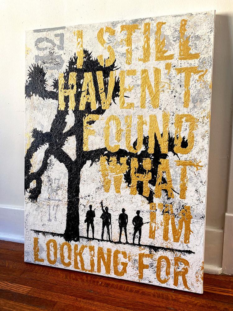 U2 JOSHUA TREE Original Acrylic Painting - Angled Alt