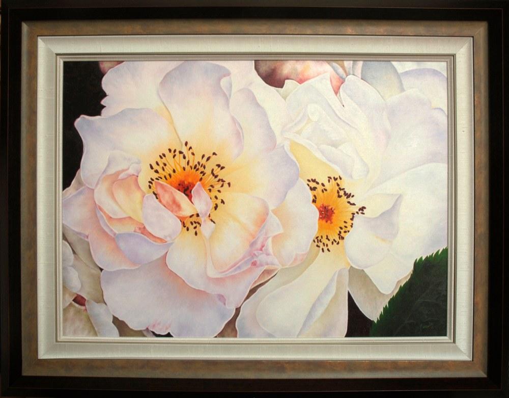 White Roses   framed