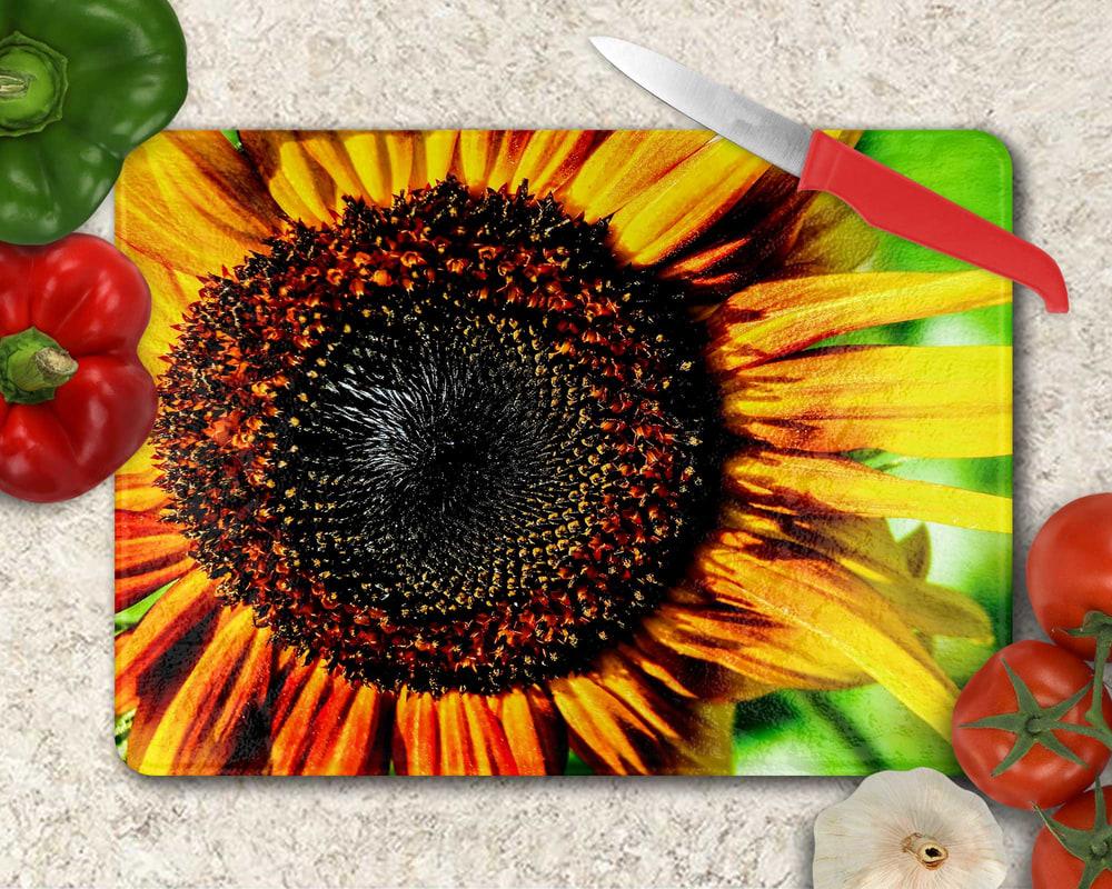 Custom Glass Cutting Board Sunflower