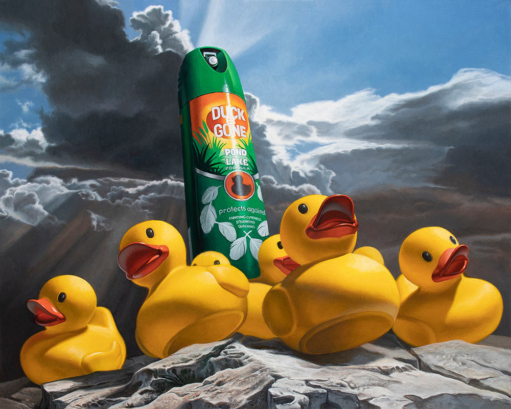 Kevin Grass Duck Off! Acrylic on aluminum panel painting