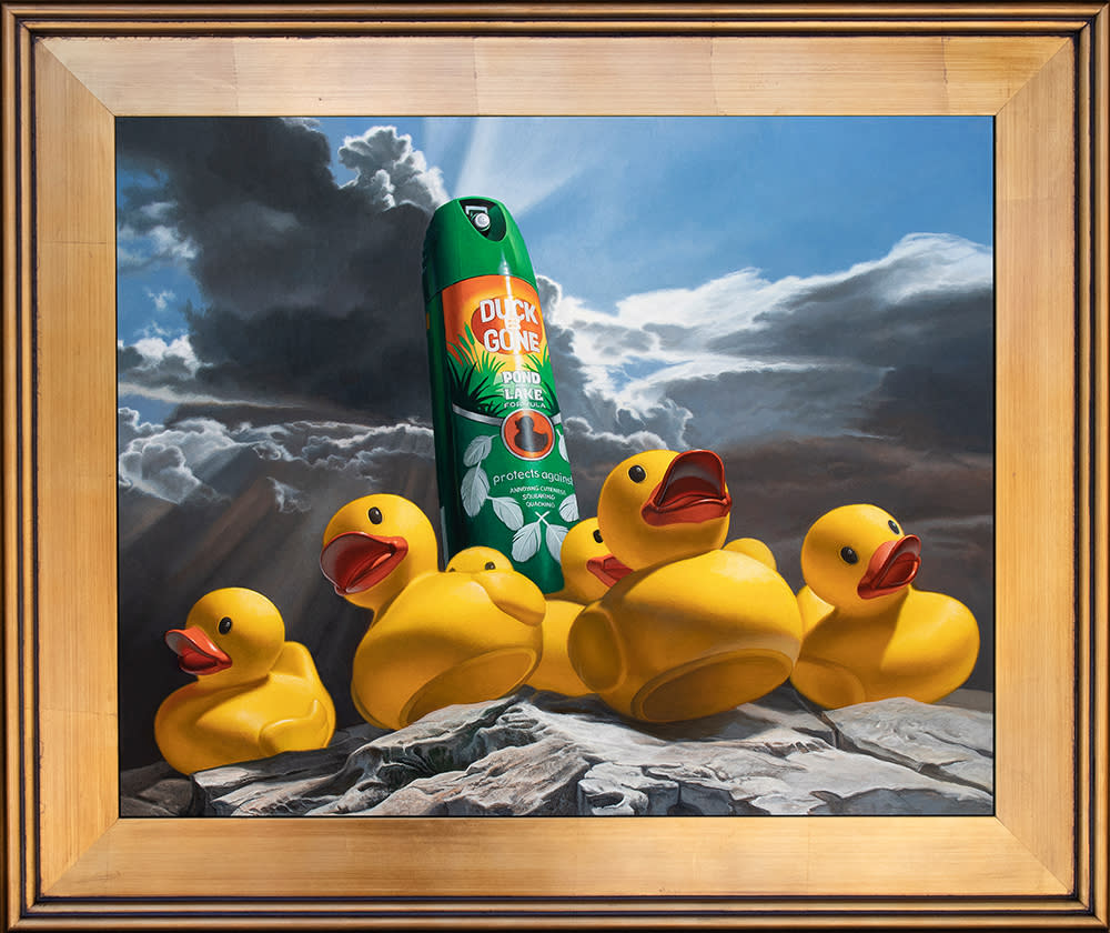 Kevin Grass Duck Off! Gold Frame Acrylic on aluminum panel painting