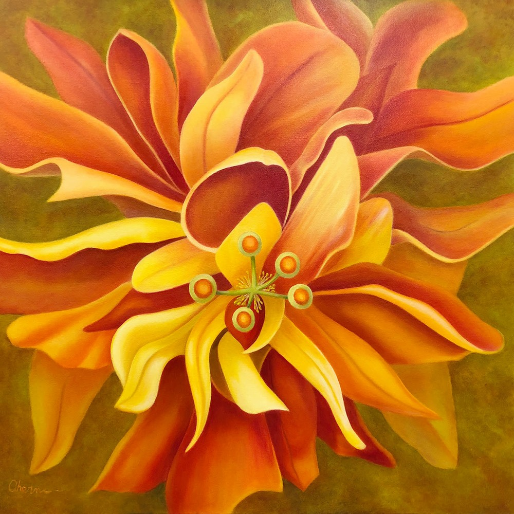 180427 ahern Pay Attention Here Orange Hibiscus 20x72