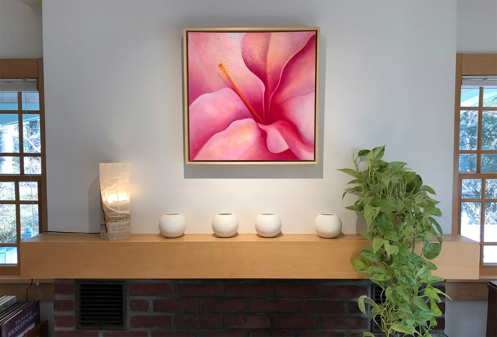 2019 ahern Here I Am Pink Hibiscus mantle IMG 6214 20x72