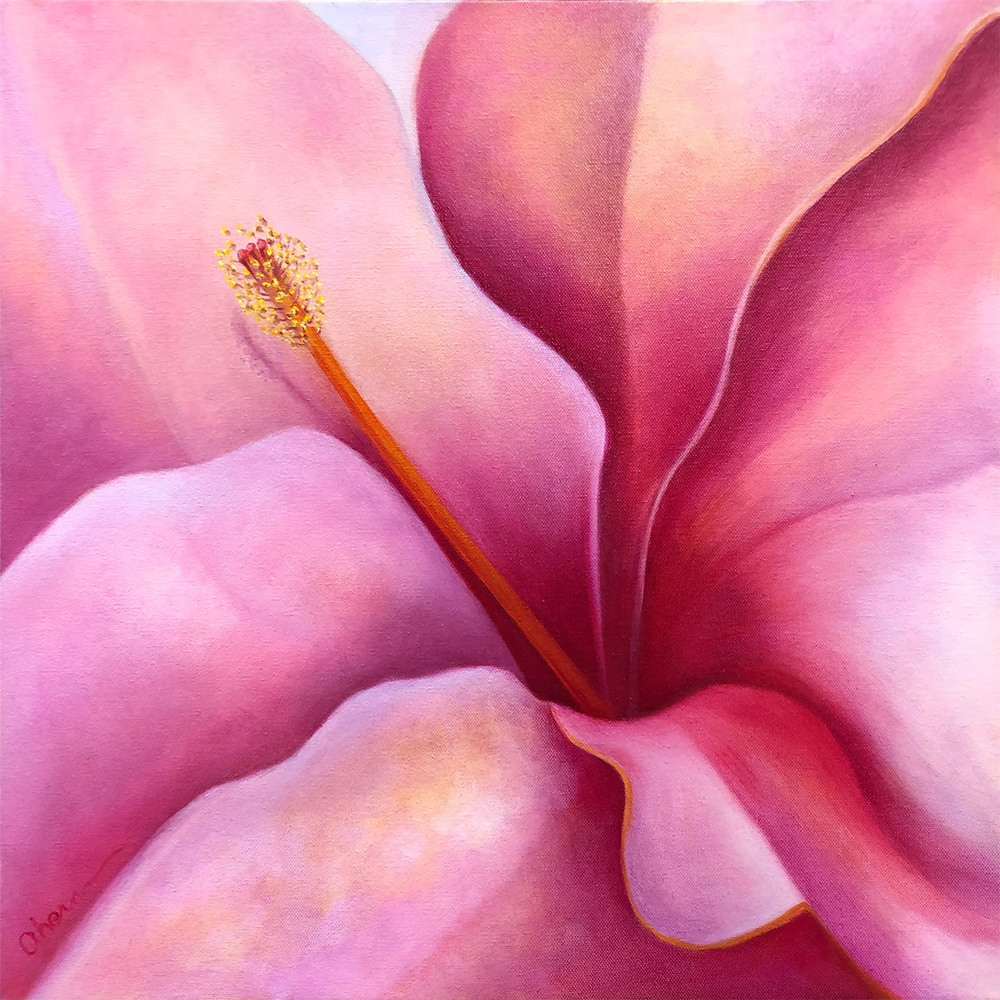 1181028 Here I Am Pink Hibiscus 20x72