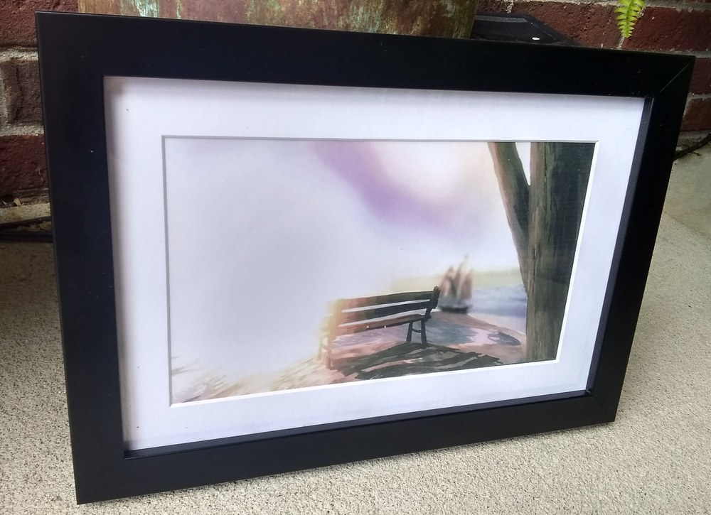 bench painting framed 1