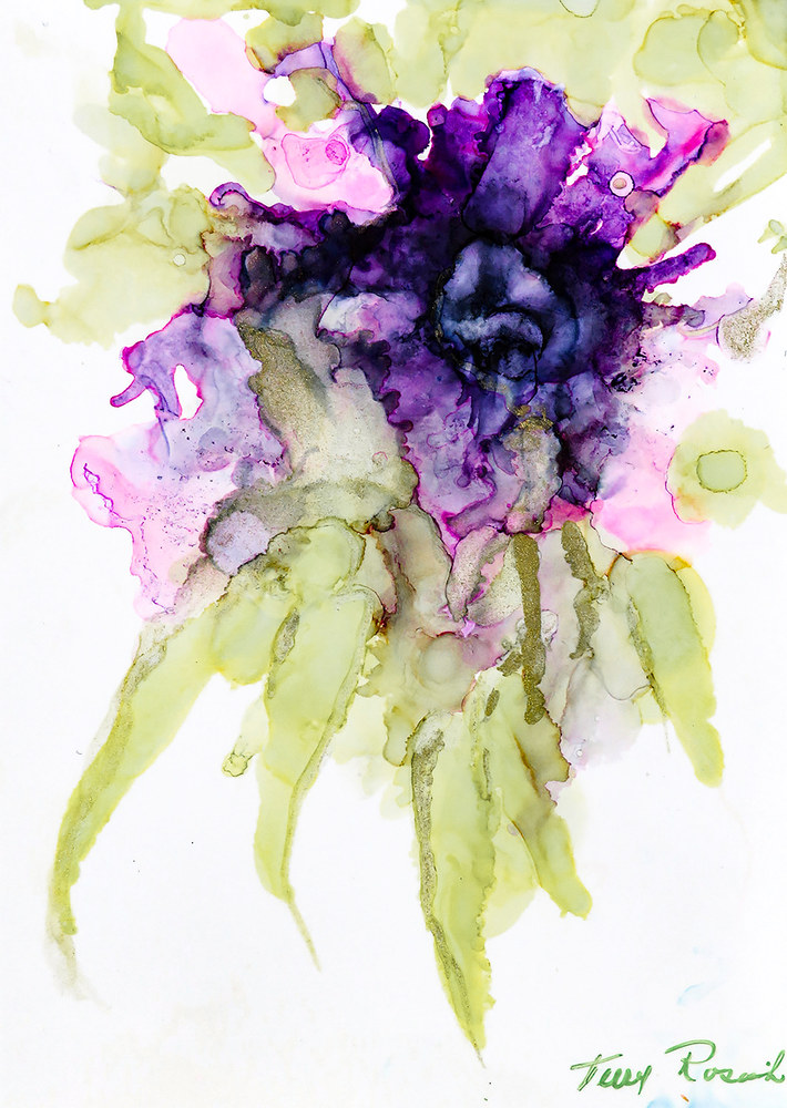 flower in purples and greens