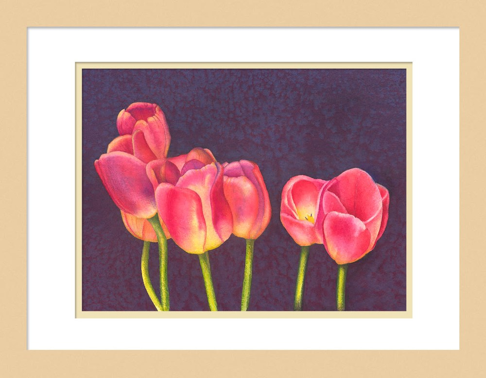 050201 Red Tulips on Purple 9x12 Framed to 12x16