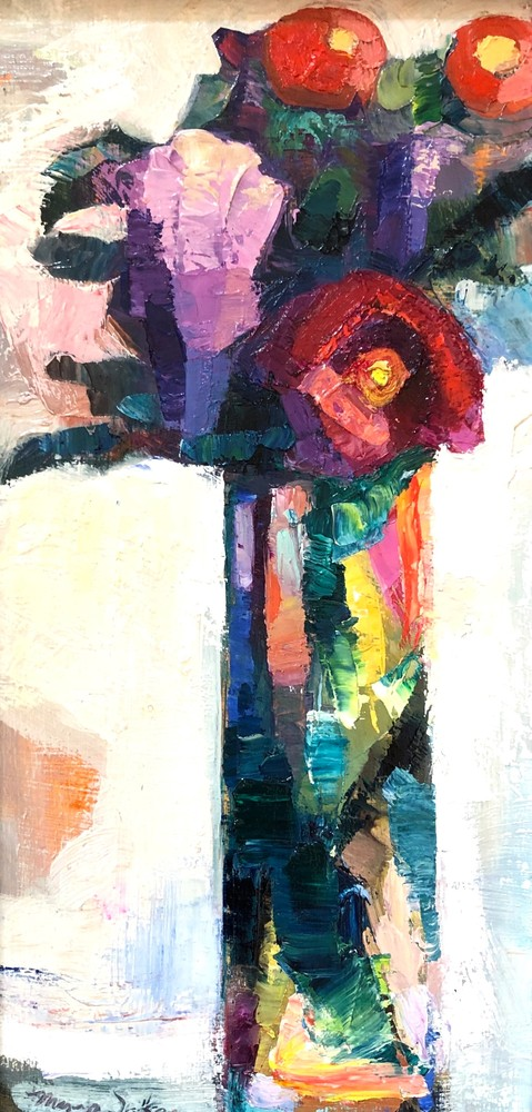Together Still Life With Red Rose, Lilacs and Ranunculus, Oil, 12x6