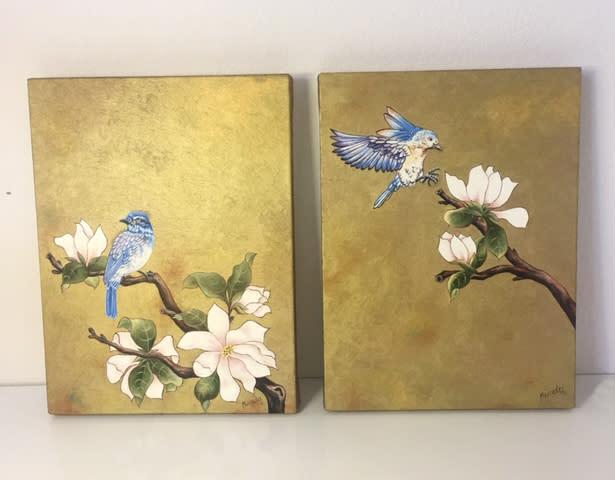 bluebird bothpaintings ondrawingtable