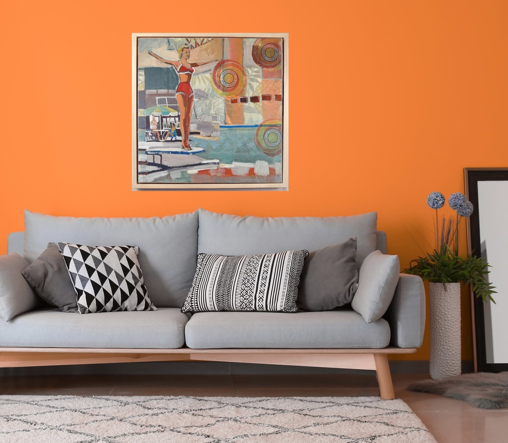 bathing beauty orange wall interior