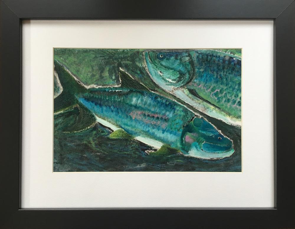 Blue Fish Redux   framed copy