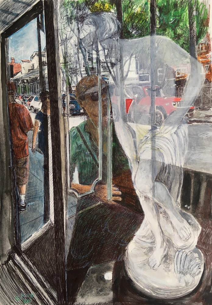 KOBrienStaute in Window15x22acrylicprismacolorinkonpaper$1600