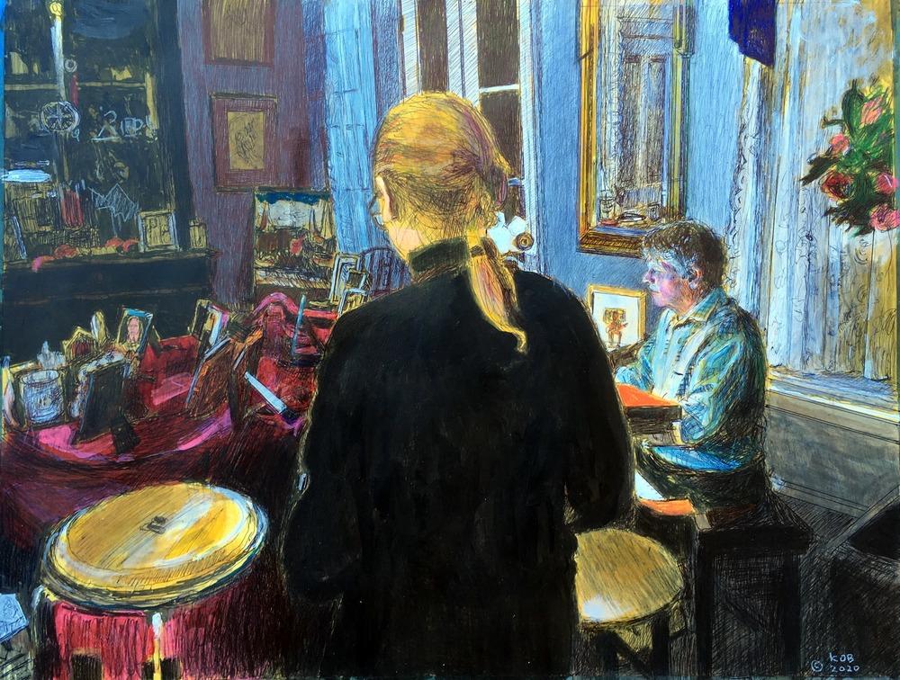 KObrien Piano Music25x20acrylicprismacolorinkonpaper$1600