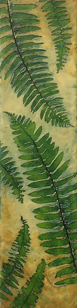 BridgetBenton Ferns encausticnatureprint 6x24 575