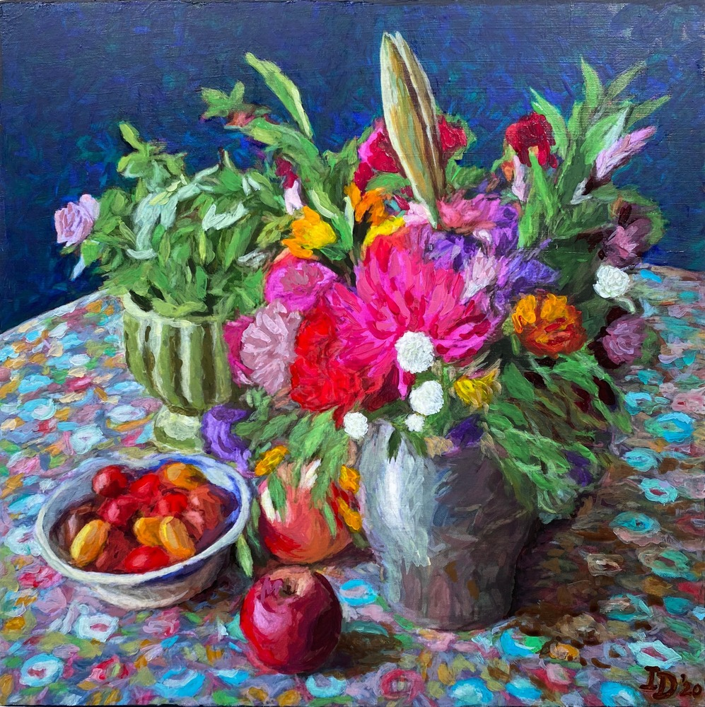Inna Dzhanibekova 15 Still Life With Flowers in Pewter Jar