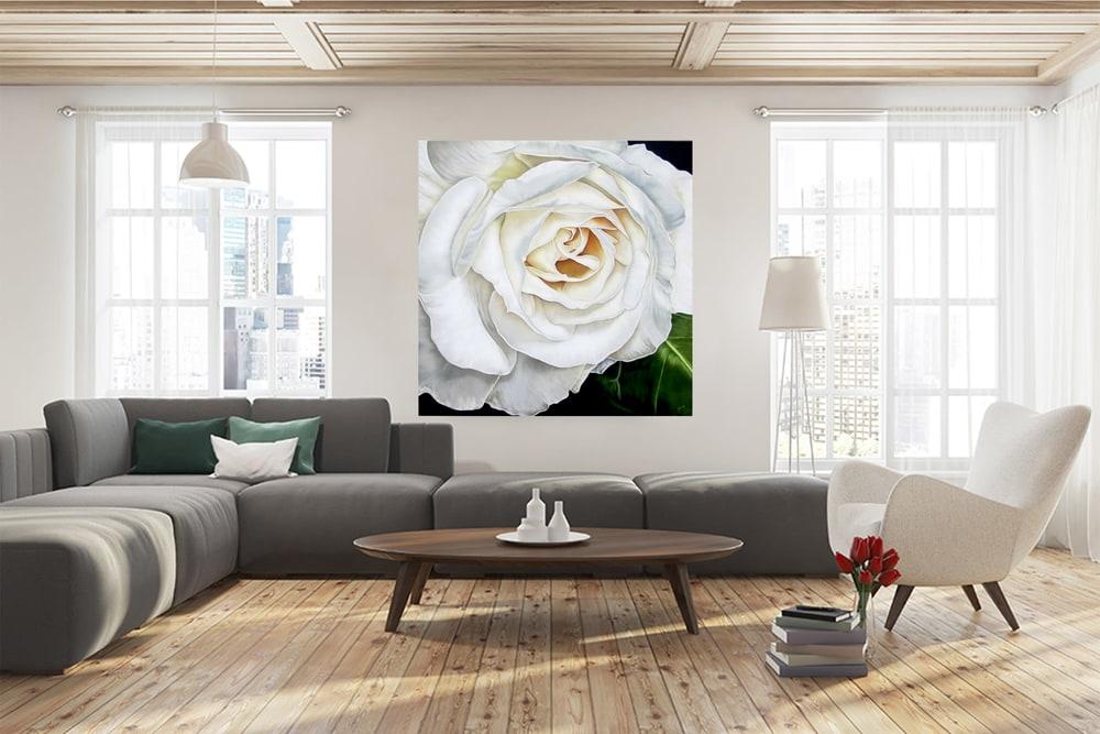 White rose Beauty sofa ara mock up