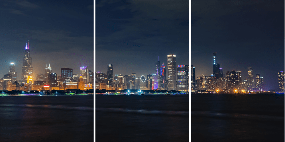 Chicago Skyline at Night on Independence Day