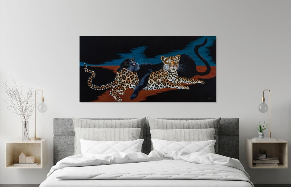 Cats  mock up above bed