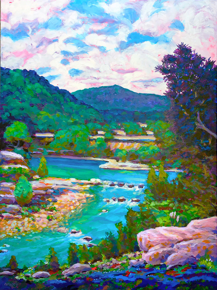 Hill Country River Scene vgt