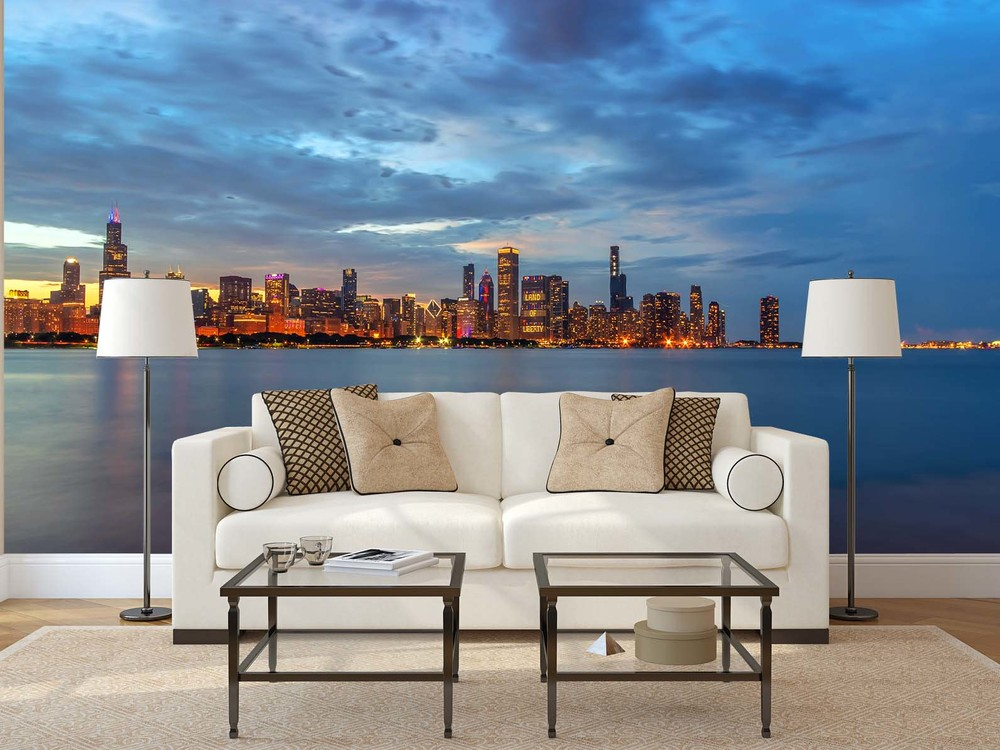Chicago Skyline at Dusk on Independence Day