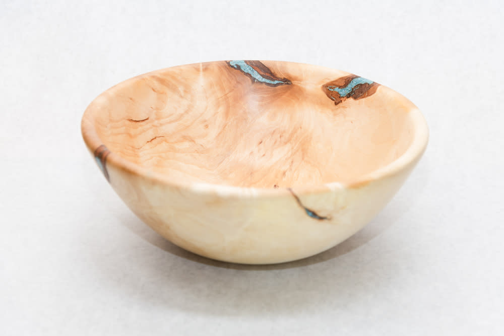 Large Hand Turned Birch Bowl with Turquoise Resin Fill