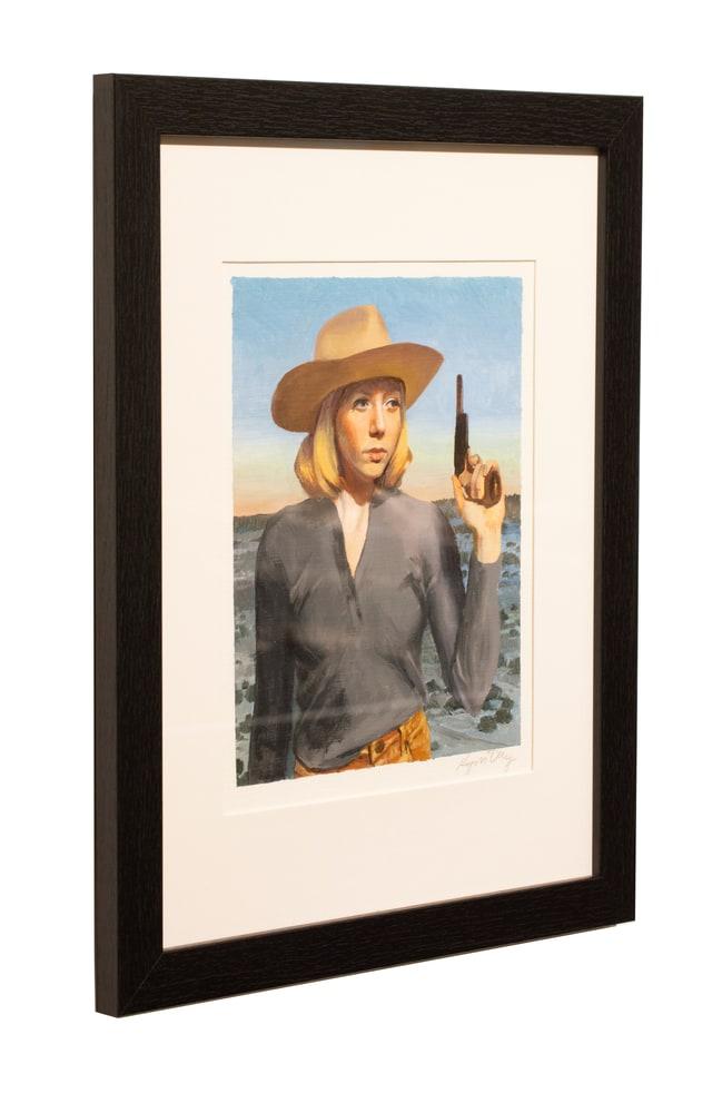 8x10 pistol cowgirl left