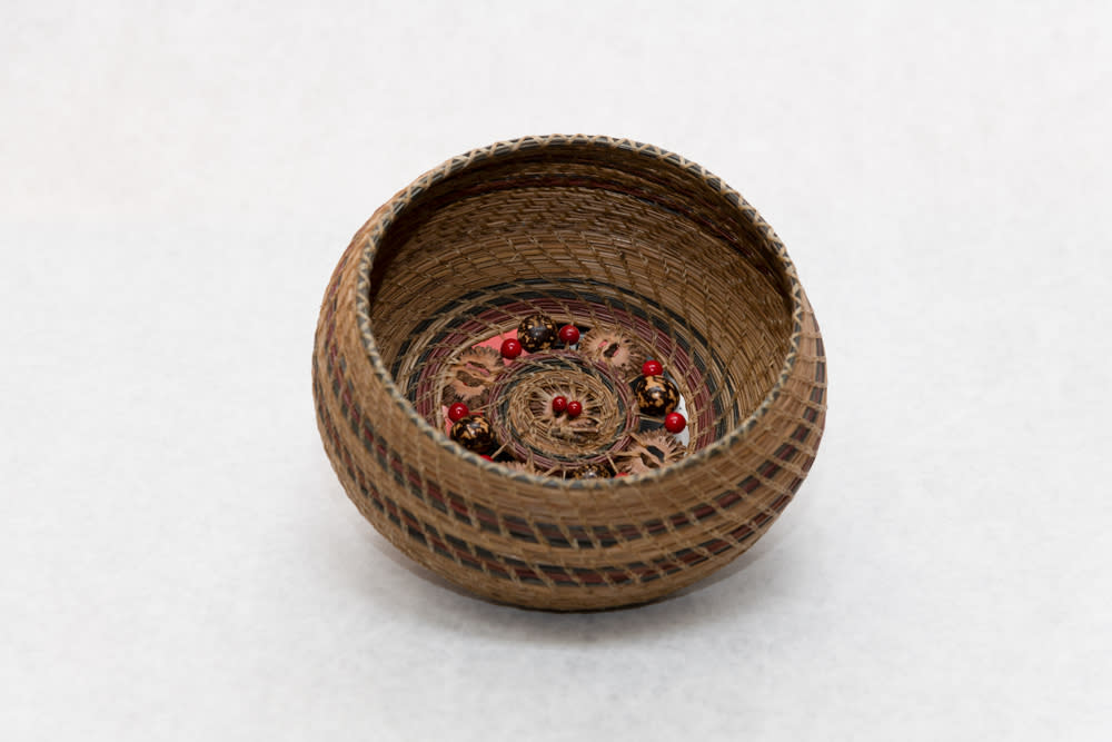 Hand woven Pine Needle Basket with Sliced Walnut and Bead Base   View 2