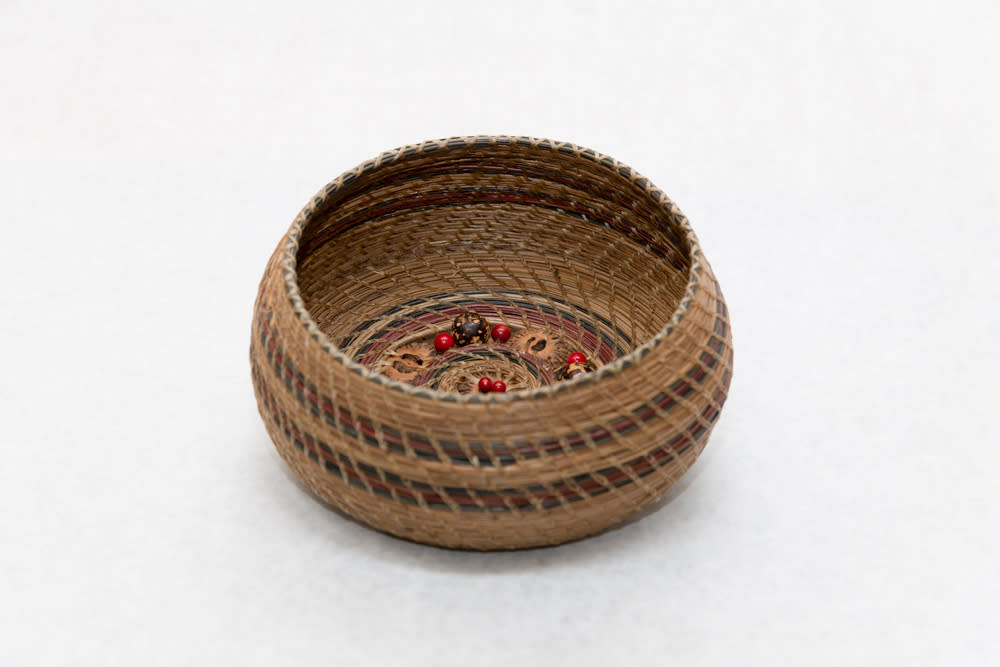 Hand woven Pine Needle Basket with Sliced Walnut and Bead Base