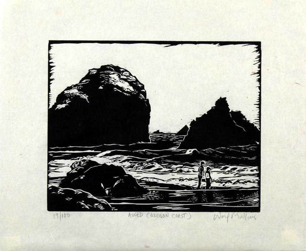 Awed, (Oregon Coast), Linocut