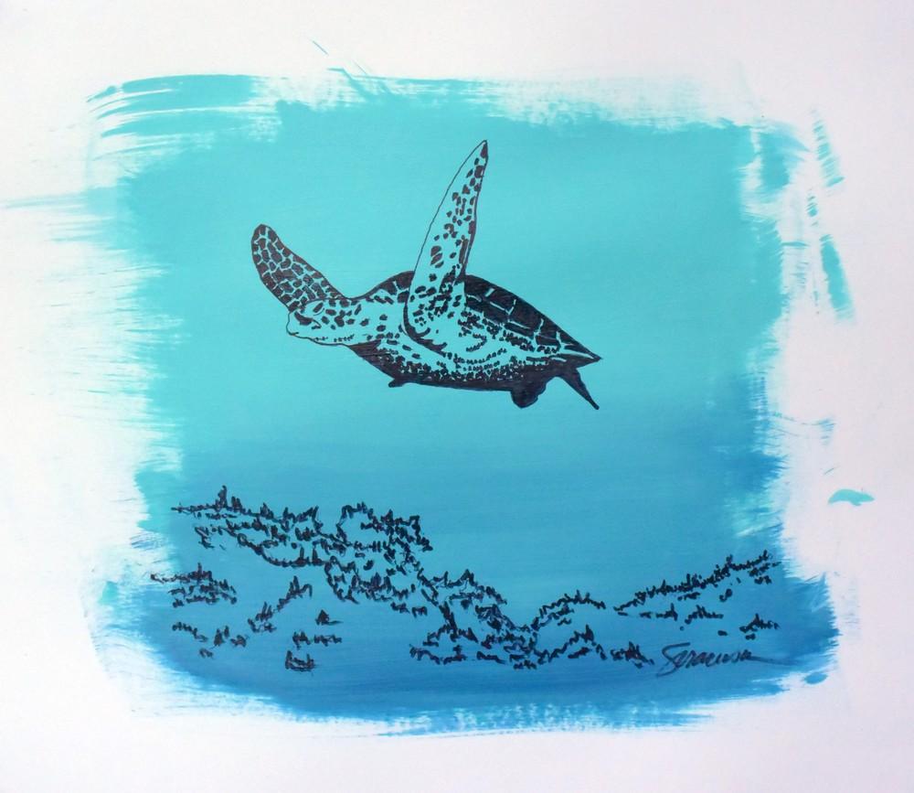 Sea Turtle Mixed Media Limited Edition Print