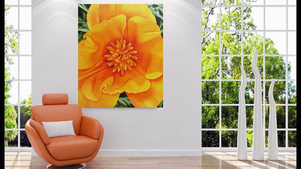 Happu CA PoppyRoom viewwindows orange leather chair