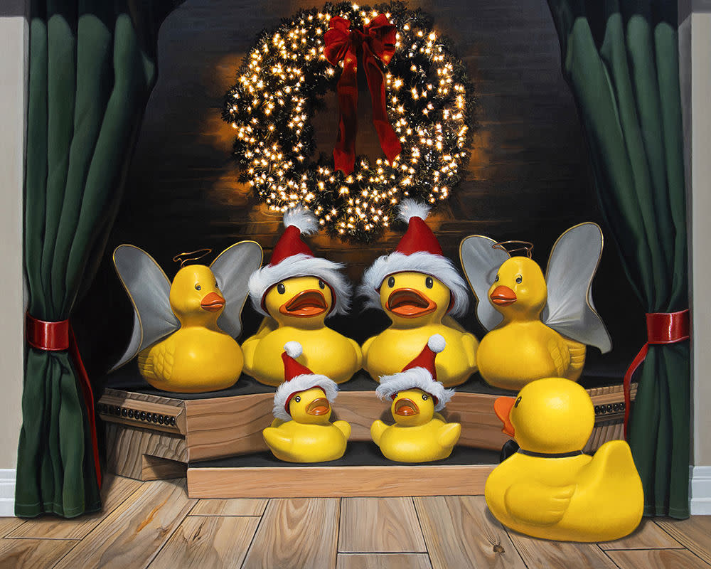 Kevin Grass Duck the Halls Acrylic on aluminum panel painting