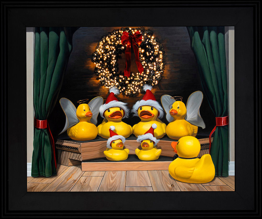 Kevin Grass Duck the Halls Black Frame Acrylic on aluminum panel painting