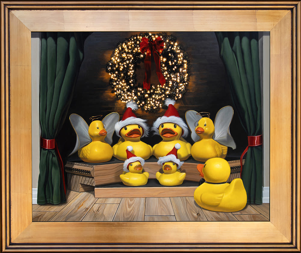 Kevin Grass Duck the Halls Gold Frame Acrylic on aluminum panel painting