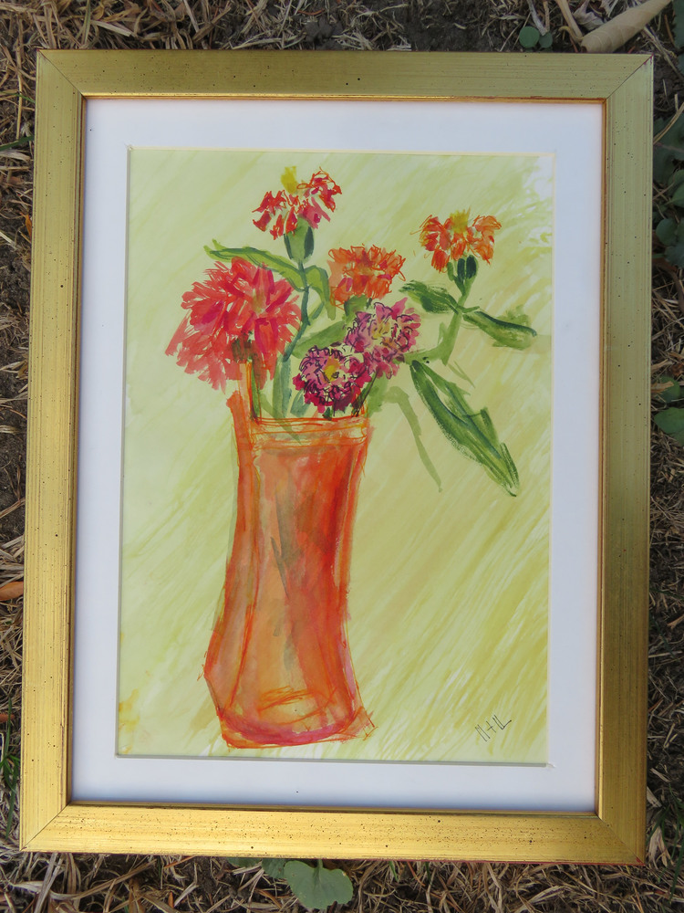 Red vase red flowers
