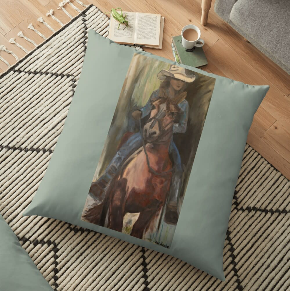 Cowgirl floor pillow 2