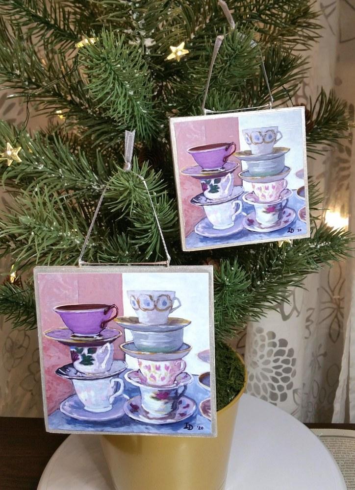 Ornaments, two sizes, Tea Cups II