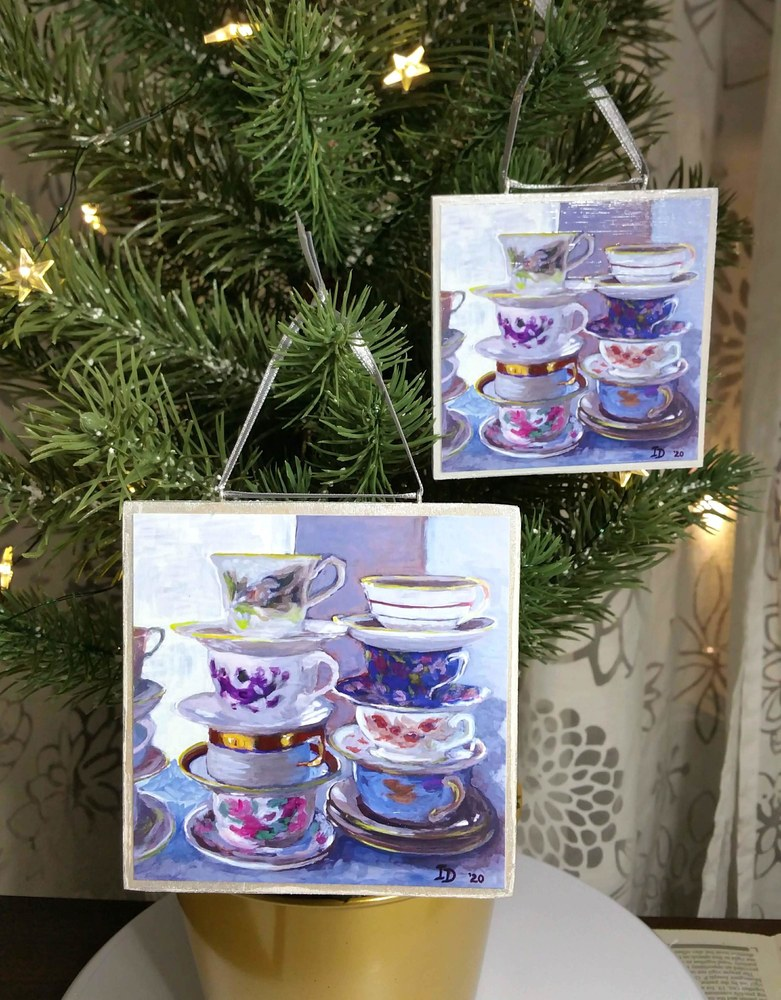 Ornaments, two sizes, Tea Cups I